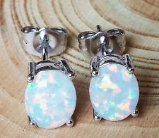 18K White Gold Filled White Fire Opal Oval Stud Earrings