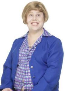 Smiffy's Little Britain Marjorie Dawe Brown Bob Wig Hair Fancy Dress Cosplay
