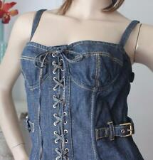 Dolce & Gabbana Stretch Denim Lace Up Bustier Gypsy Dress Size 44 (Aust 12) US 6