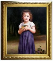 Framed Hand Painted Oil Painting Repro Bouguereau Girl Holding Apple, 20x24in
