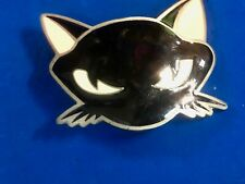 2003 black and white cat head bust pewter cut out figural belt buckle