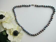 Peacock Black Baroque Freshwater Cultured Pearl Necklace.