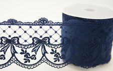 Navy Blue Embroidered Tulle Lace Ribbon 95mm x 1m - Bows Flowers & Swags