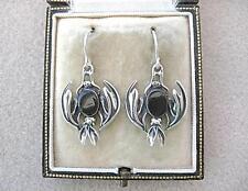 Handmade Genuine Whitby Jet & Silver Upside Down Bat Drop Earrings