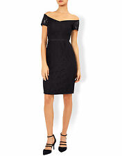 New MONSOON Rosie Navy Blue Lace Bardot Fitted Cocktail Pencil Dress Size 14 NWT