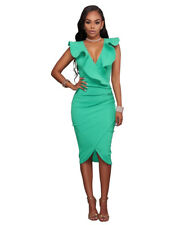 UK Womens V Neck Frill Ruffle Bardot Bodycon Midi  Evening Party Cocktail  Dress