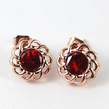 Women's Rose Gold plated Red Crystal flower stud earrings Jewellery