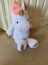 Clinton BNWT Large White Pink And Gold Unicorn Plush Toy 68cm