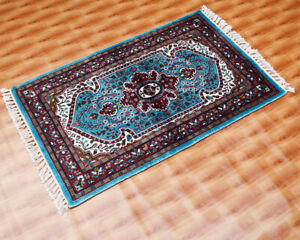 2x3 ft Floral Traditional Oriental Area Rug Silk Hand-Knotted Rug Sky Blue Color