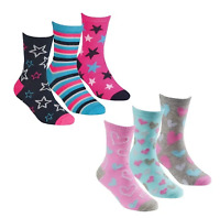 Girls 6 Pairs Stars & Hearts Cotton Rich socks size 6-8 9-12 12-3 Age 2-10