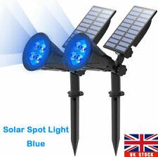 2Pack Solar LED Spotlights Wall Lights Garden Outdoor Waterproof Yard Blue Lamps
