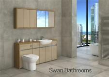OAK / CAPPUCCINO GLOSS BATHROOM FITTED FURNITURE WITH WALL UNITS 1700MM