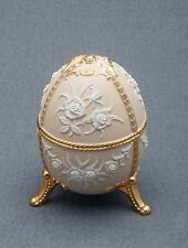Music Box made by Splendid Music Box  - NEW - Cream Colored Egg with Flowers