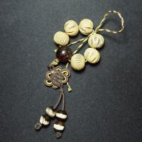 Rare Old Antique Tibetan Carved Yak Bone Amber Agate Beads