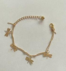 Fußkette Libelle goldfarbig mit Verlängerung 16,5 - 21,5 cm