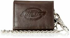 Dickies Men's  Leather Wallet - Security Trifold Truckers ID Window with Chain
