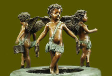 """49"""" Tall Huge depict 3 Baby Angel Musical Theme Water Fountain Bronze Sculpture"""