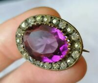 Antique Petite Edwardian Amethyst Paste Victorian Lace Pin Brooch