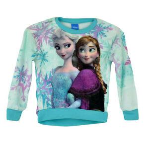 Disney Frozen Snow Sisters Sublimation Plush Long Sleeve Youth Girls Shirt