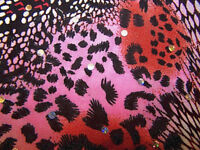 Pink Rust Hologram Sequin Dot Leopard Animal Lycra Stretch Fabric 1 yard 18 in