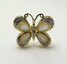 Estate Butterfly Pendant with Mother of Pearl and Diamond Wings,10 kt gold
