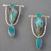 Vintage 925 Silver Turquoise Dangle Drop Earrings Ear Hook Women Wedding Jewelry