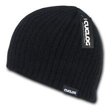 Black Solid Warm Winter Ski Snowboard Knit Skull Beanie Beanies Cap Hat Hats
