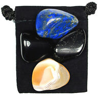 MENTAL TENSION Tumbled Crystal Healing Set = 4 Stones + Pouch + Description Card