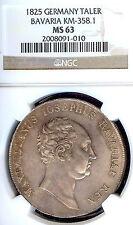 Germany Deutschland Bavaria 1825 Taler Coin Thaler NGC MS 63 Stempelglanz RARE