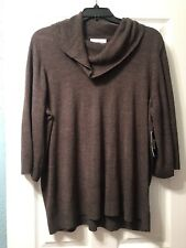 Knit By Hampshire Studio 3X Brown Acrylic Cowl Neck Sweater *NWT*