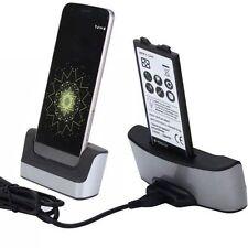 USB Dual Battery Charger Dock Station Stand Cradle Holder For LG V20 H990 H910