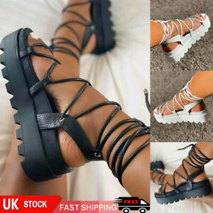 Womens Chunky Sandals Thick Sole Strappy Flatform Summer Gladiator Shoes Size.