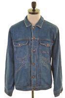 BEST COMPANY Mens Denim Jacket Size 40 Medium Blue Vintage