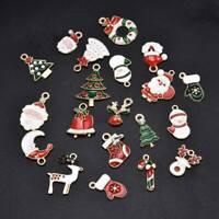 20Pcs Charm Enamel Mixed Christmas Pendant Jewelry DIY Craft Making Accessories