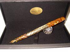 Golden Overlay Blancheur Fountain Pen - Stylo 18Kt Hand Made Pump-fill