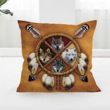 Wolves Dreamcatcher Throw Pillow Covers Wolf Square Decorative Pillow Cases Cush