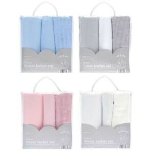 Newborn Baby Boy Girl 3 Piece Moses Basket Bedding Set -Fitted Sheet 2x blankets