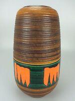 70er Jahre Vase Bodenvase Blumenvase Keramik Space Age Design Orange Braun Grün