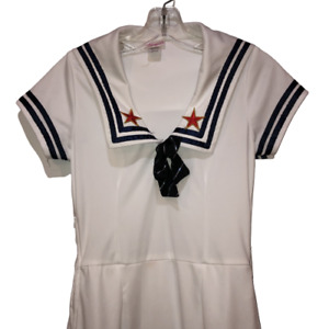 Dreamgirl Vintage Womens Small White Sailor Adult Halloween Costume Navy Dress S