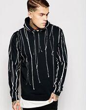 Diesel Black Hoodie/Sweatshirt With All Over Zip Print L Gold Style Jacket