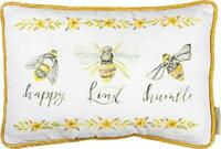 "Primitives by Kathy Cotton Throw Pillow, 15""x10"", Bees - Happy, Kind, Humble"