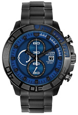 Citizen Ca0525-50l Men's Eco Drive Black IP Titanium Blue Dial Chronograph Watch