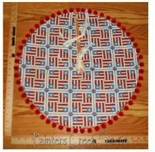 "USA FLAG BLOCK Americana Handmade Mini Tree Skirt,20"" dia,USA,patriotic,July 4th"