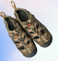 Womens Keen Brown Leather Pull On Hiking Sandal Shoe W/Toggle Laces