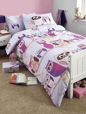 Owl Hoot Double Duvet Cover & Pillowcase Set White & Lilac New Bedding