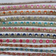 Glass Mirror Bead1ft Trimming Gold Lace Cut Work Trim Ribbon Craft Saree Border