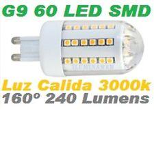 Bombilla G9, 60 LED SMD 160º 3W, LUZ CALIDA 3000K ClaseA, Bajo Consumo