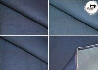 "Premium Medium Weight Washed Denim Fabric 100% Cotton High Quality 60"" Wide"
