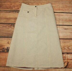H&M Ladies Tweed Midi Skirt 60% Wool UK 12 Winter Beige A Line