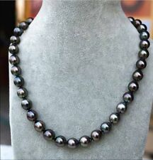 "Fashion Women's Genuine 8-9mm Tahitian Black Natural Pearl Necklace 18"" AAA"
